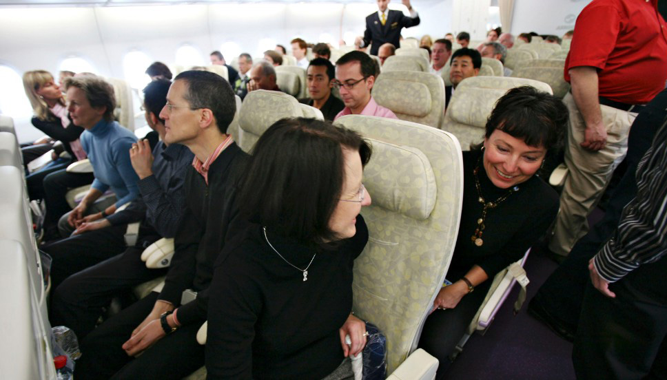 Passengers take seat in the A 380 at his first flight from Frankfurt to New York in Frankfurt, Germany, Monday, March 19, 2007. Photographer: Alex Kraus/Bloomberg News